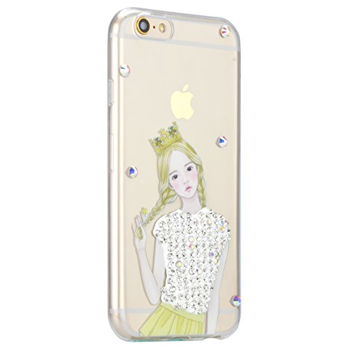 Coque iPhone 7, Coque iPhone 7 Transparent Silicone TPU Gel Soft Etui Sunroyal® Housse de Protection Motif Slim Bling Strass Case Cover Anti-Scratch Antichoc + Film Protection - Cartoon Lapin Bling TPU-09