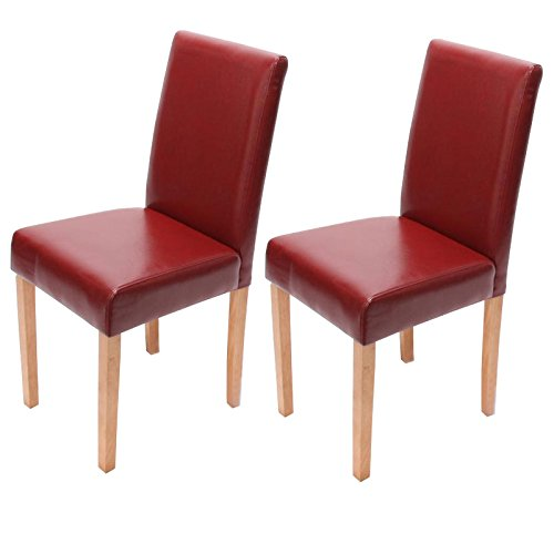 2x Esszimmerstuhl Stuhl Lehnstuhl Littau ~ Leder, rot, helle Beine