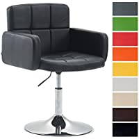 CLP Fauteuil Lounge Design Los Angeles Similicuir I Chaise Design Réglable en Hauteur et Pivotante I Chaise de Salle à Manger I Couleur: Noir