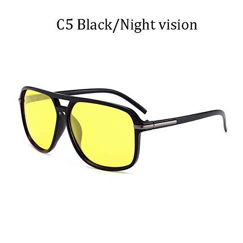 LIUYIAO Die kühle quadratische Art der Art- und Weisemänner polarisierte die Sonnenbrille, die Retro Markendesign-preiswerte Sonnenbrille fährt,C5