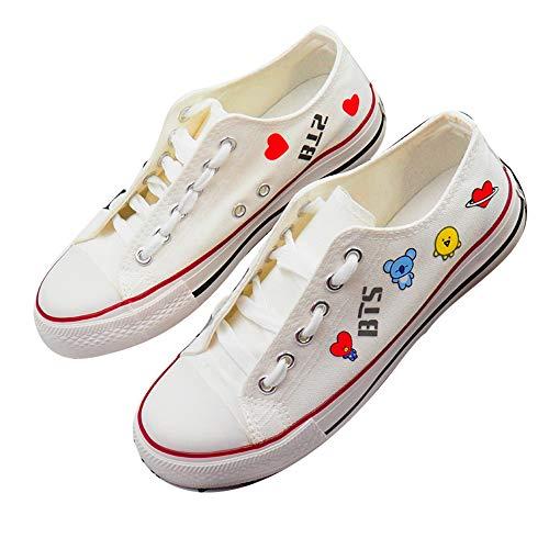 BTS Scarpe Buon Rapporto qualità-Prezzo Versione Coreana Exquisite Pattern Printing Running Shoes Classic Sneaker Unisex (Color : A02, Size : EU37 US6)