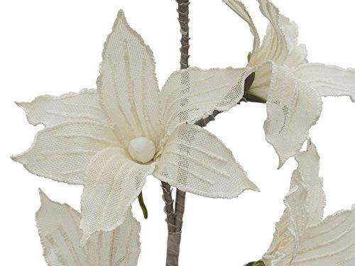 artplants Künstlicher Clematiszweig Katy, 5 Blüten, weiß, 100 cm – wetterfest – Kunstblume