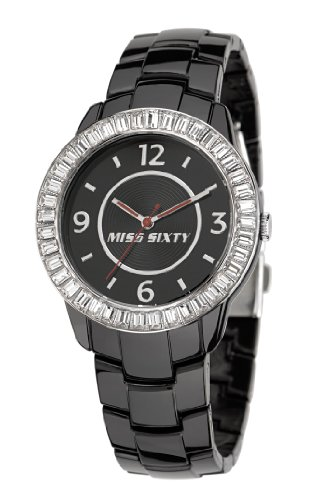 Miss Sixty R0753118502 - Orologio da polso da donna, cinturino in plastica colore nero
