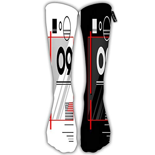 Randell Unisex Classic Knee High Over Calf Number 9 Flag White Black 3D Print Athletic Soccer Tube Cool Fun Party Cosplay Socks -