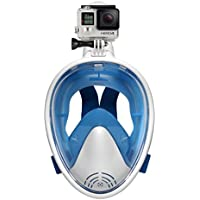 TGDY Máscara De Snorkel Vista Completa 180 Degree Full Face, Snorkel Snorkel Masks, Máscara De Buceo Adult and Child Safety Diving,Blue,S/M