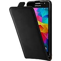 PhoneNatic Kunst-Lederhülle Flip-Case mit 2x Schutzfolien für Samsung Galaxy Grand Prime schwarz