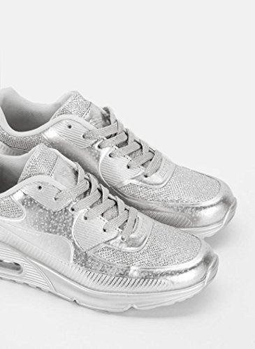 Schuhzoo - Damen Sportschuhe Low Sneaker Silber