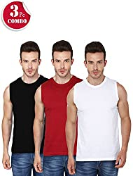 d367878c5 13%off 3 Pack Combo Mens Round Neck Sleeveless Tshirts-(Black,Red, White)