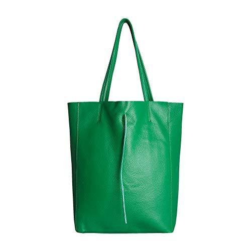 SKUTARI Original Vittoria Classic Shopper, Laptop- und Einkaufstasche aus echtem Leder mit extra langen Griffen und Reißverschlussinnentasche, handgefertigt in Italien | 36 x 38 x 13 cm (Grün) -