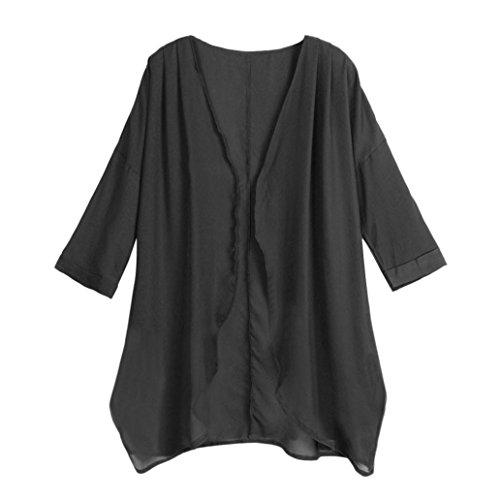 heer Chiffon Lose Kimono Cardigan Bikini Bademode Strickjacke Tops Shirts (XL,Schwarz) (Entwerfen Von Frauen Kostüm)