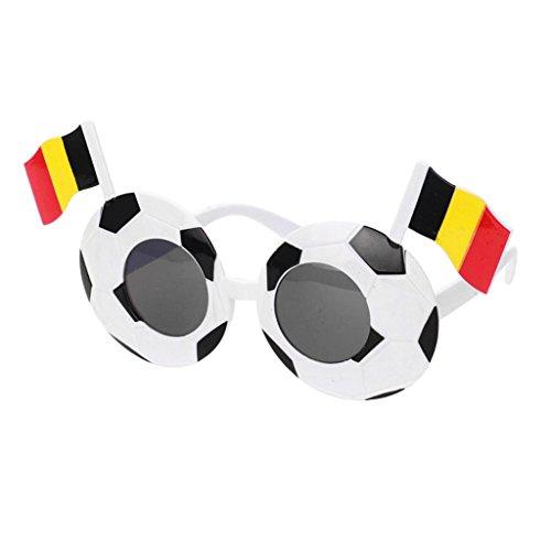 Homyl Fanset für 10 Länder Fanartikel für die WM 2018 Fußball Sonnenbrille Fanartikel Sonnenbrillen Spaßbrille - Belgien