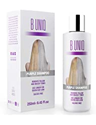 Purple Shampoo von B Uniq für blonde, blondierte, gesträhnte & graue Haare, Violett-Pigmente gegen Gelbstich für silberne und violette Töne, revitalisierend & sulfatfrei- 250 ml
