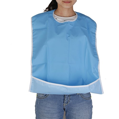 Generic Waterproof Adult Mealtime Bib Protector Disability Aid Apron - Sky Blue