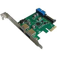 Kalea-Informatique - Placa para controlador PCI Express (PCI-E) a USB 3.0 (2 puertos Superspeed, conector interno USB3, 19 puntos)