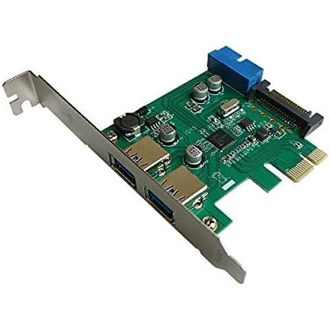 Kalea-Informatique © - Scheda di Controllo PCI Express (PCI-E) per USB 3.0, 2 porte superspeed, con connettore interno USB3, 19 pin - Modulo Di Controllo Staffa