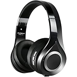 Auriculares Bluetooth, ELEGIANT Cascos Bluetooth Inalambricos Estéreo con Micrófono Bluetooth 4.1 Plegable Hi-Fi Estéreo 3.5mm Audio AUX Compatible con Teléfonos iPhone 8 7 6s 6 plus iPad Samsung HTC LG Laptops Tabletas Teléfonos Negro