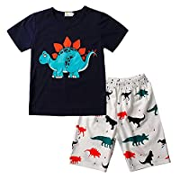 Little Sorrel Boy Pyjamas Short Sleeve Dinosaur Shark Animal Patterns Cotton Pjs for Age 1-7 Years