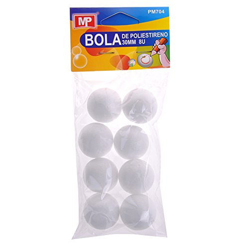 MP PM704 - Pack de 8 bolas de poliestireno, 30 mm