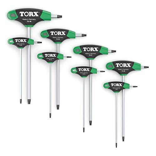 TORX® 70563 Schraubendreher Set 2K mit T-Griff 8tlg. T9-T40 | Made in Germany | Torxschlüsselsatz | Schraubenschlüssel | T9 | T10 | T15 | T20 | T25 | T27 | T30 | T40 | TX | für Torx Schrauben