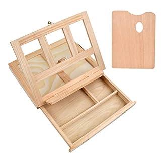 TIMESETL Caballete de madera para escritorio Herramienta de pintura Artists, caballete de escritorio de madera con cajón y paleta Ideal para bocetos, dibujos y pinturas portátiles