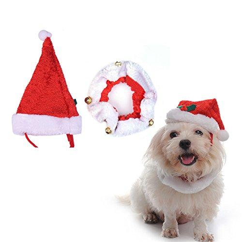 Tragen Box Dog Kostüm - Huhuswwbin Baseballmütze für Hunde/Katzen, mit Kappe, Sportmütze, Sommermütze, Visier (Vizor), für Hunde und Katzen, süßes Weihnachtsmannmütze, Halsband mit Glöckchen, Weihnachts-Kostüm, Größe L