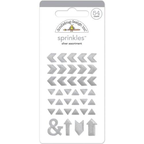Glossy Enamel Adhesive Sprinkles-Silver Arrows 37/Pkg