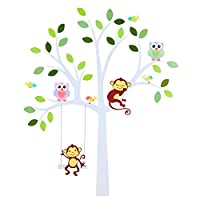 TALINU Wall Stickers Tree with Leaves and Animals - Wall Sticker, Wall Decals, Wall Stickers for bedrooms, Wall Decoration Nursery - for Smooth, Clean and Dry Surfaces