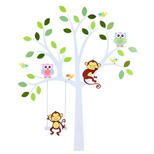 TALINU Wandsticker für Baby- oder Kinder-Zimmer; Motiv: Baum mit Blättern und Tieren - haftet an allen glatten und sauberen Oberflächen- Wand-Aufkleber, Wand-Tattoo, Wanddekoration