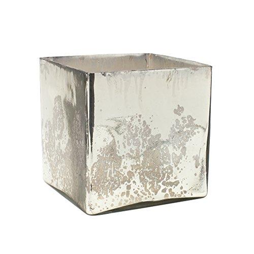 Serene Räume Living Silber Quecksilber Glas Cube Vase-Handarbeit Vintage inspiriert Vase mit Antik in 17,8cm Cube Form