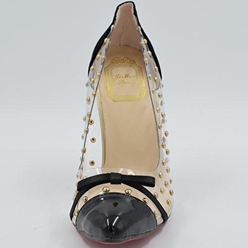 Oasap Fashion Rivet Embellishment Pointed Toe Stiletto Heels Black