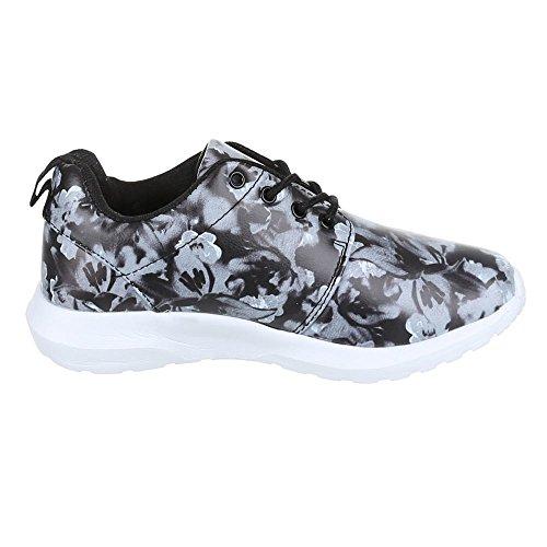 Chaussures femme, 239–9, loisirs chaussures sneakers chaussures de sport Noir - Schwarz Grau