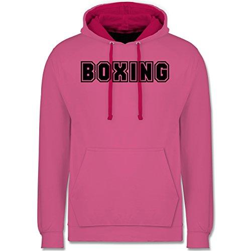 Kampfsport - Boxing Schriftzug - Kontrast Hoodie Rosa/Fuchsia