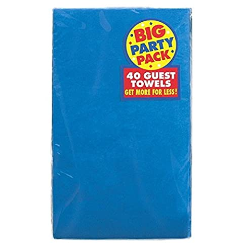 Amscan Beautiful Big Party Pack Marine Guest Paper Towel Party Supply (40 Pack), 4-1/2 x 7-3/4 , Blue
