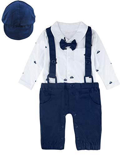 A&J Design Baby Jungen Gentleman Strampler Partei Overall mit Krawatte (Blau2, 12-18 Monate) (Ist Für Die Dieser Partei Kuchen)