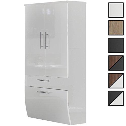Bad Hoch-Schrank Pampow Weiß, hängend, Breite 70 cm, Höhe 135 cm, Tiefe 30 cm, 2 Türen, 1 Klappe, 1 Schublade, 2 Einlege-Böden, unten abgerundet -