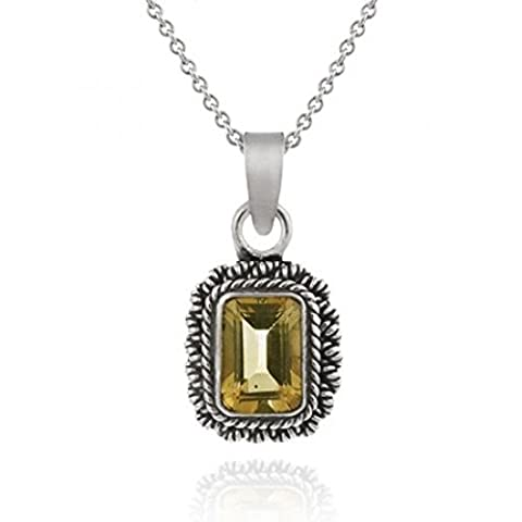 Sterling Silver pendant with square Genuine Citrine