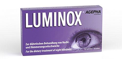 Luminox® AGEPHA 30 Augen-Vitamine verbessern Nachtsicht, Augen und Sehkraft mit Ginkgo, Guarana, Acai, Bilberry bei Sehschwäche und Nachtblindheit