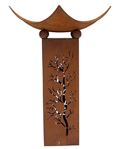 *Metall-Deko-Säule 'Feuerschale' (2-teilig) lackiert Braunton Rost-Optik Baumausstanzung Höhe: 75cm*