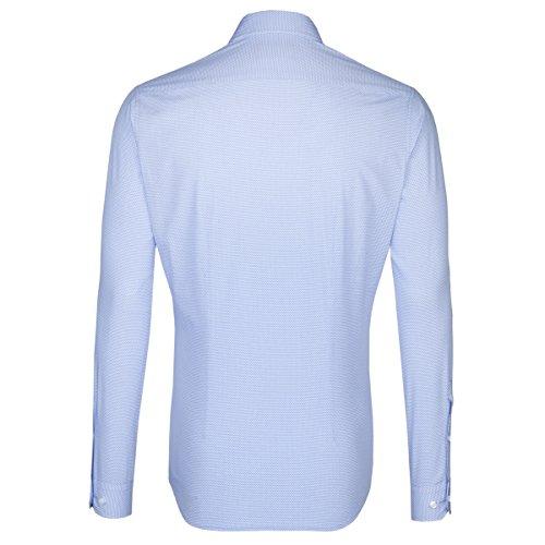 SEIDENSTICKER Herren Hemd X-Slim 1/1-Arm Bügelleicht City-Hemd Kent-Kragen Kombimanschette weitenverstellbar blau (0014)