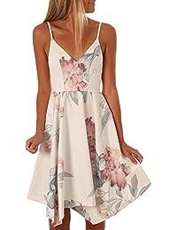 203ef4d18d3e76 TOUVIE Sommerkleider Damen V-Ausschnitt Spaghettiträger Rückenfreies Blumen  Strand Kleider A-Linie Abendkleid…