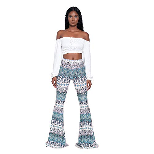 LUCKYCAT Damen Hosen Hippie Lang Weites Bein Schlaghose Freizeit Elatisch Party Club Comfy Stretchy Bell Bottom Flare Hosen Blumen Drucken Elegante Casual Hosen Festliche Abendgarderobe Partywear