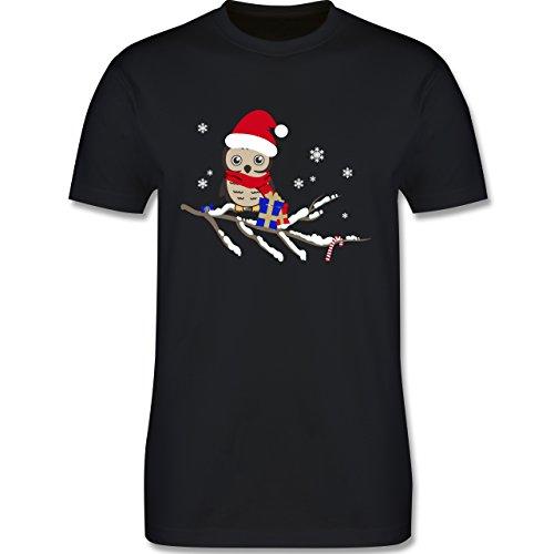 Weihnachten & Silvester - Weihnachtseule Eule - Herren Premium T-Shirt Schwarz