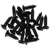 Pack Of 20 Black Stratocaster Scratch Plate Screws Guitar Screws