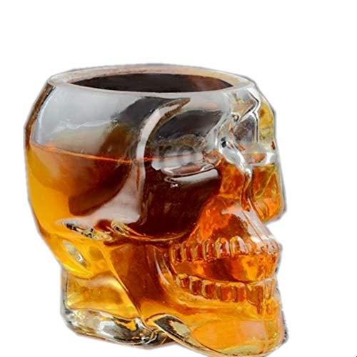 OMUUTR Trinkbecher Becher Recyceltem Glas 3D Totenkopfdesign Kristallschädel 80ML,150ML, 300ML Kaffee Weinglas Sind bruchsicher Party Halloween Erntedankfest Kreatives Design Transparent