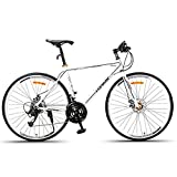 AI-QX Frenos de Disco de Bicicleta de Carretera de Bicicleta 700C-27 Carreras de Velocidad Carreras Hombres y Mujeres Estudiantes Coche Deportivo Fuera de Carretera súper Ligero,White