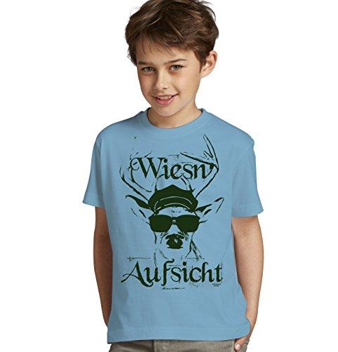 Kinder Jungen kurzarm Trachten T-Shirt Outfit zum Volksfest Oktoberfest Wiesn :-: Geburtstagsgeschenk Kids :-: Wiesn - Aufsicht :-: Geschenkidee Teenager :-: Farbe: hellblau Gr: 146/152