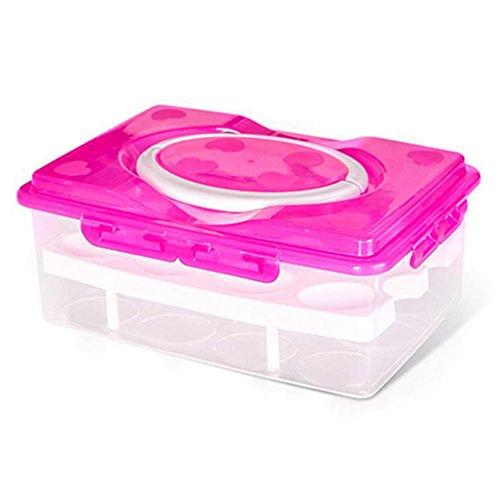 Double couches 24 Grilles support pour œufs Boîte hermétique Plastique réfrigérateur Stockage Coque, plastique, rose rouge, Taille M