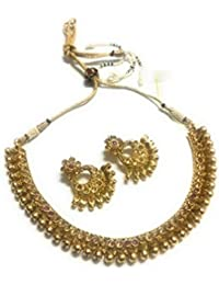 OranGey Fashion - Ultimate Gold Plated Multi Coloured Kundan Necklace Set With Beautiful Kundan Ear Drop