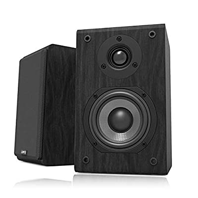 LONPOO Hifi Bookshelf Speakers Pair Passive Wooden Speakers 75W*2 RMS Enhance for Home Cinema (black) from xinlongguang