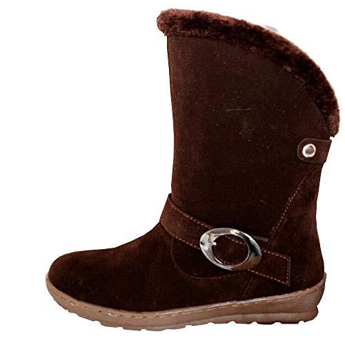 MYMYG Damen Schnee Stiefel Kunstpelz Wildleder Schnalle Baumwolle Winterschuhe Schuhe Walkingschuhe Freizeitschuhe Lederschuhe Stylische Schnalle
